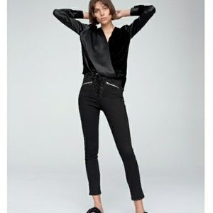 RAG & BONE/JEAN  Gia Lace-Up Zip Jeans In Black
